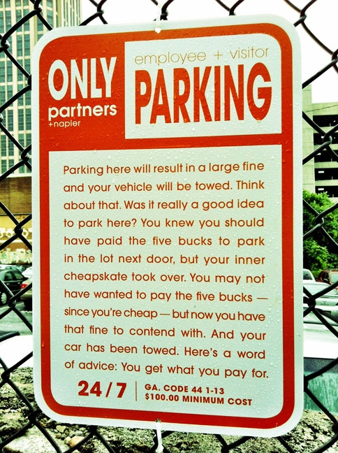 Parking notice cheapskate